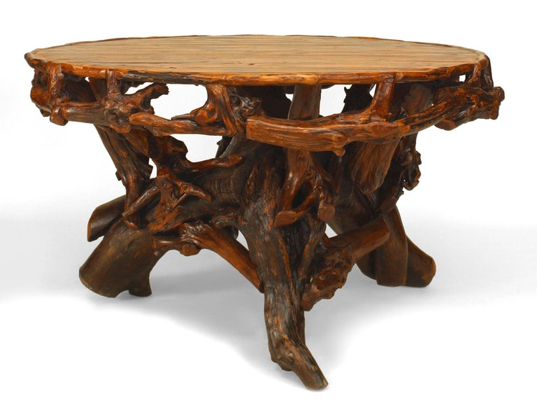 20th c. American Adirondack Style Root Base Dining Table In Good Condition For Sale In New York, NY