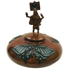 "20th Century Bronze Western Sculpture ""Butterfly Dance Pot"" Signed Tom Knapp"