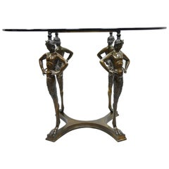 20th C. Cast Bronze Satyr Figure Pedestal Base Glass Top Dining Center Table