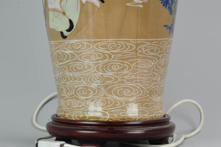 20th Century Chinese, Porcelain Vases, PRoC Lamp-Immortal Slip Decoration, China For Sale 11