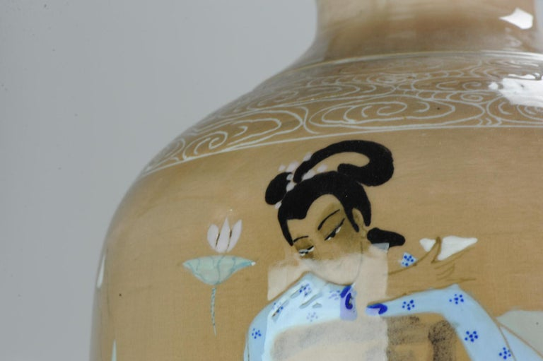 20th Century Chinese, Porcelain Vases, PRoC Lamp-Immortal Slip Decoration, China For Sale 14