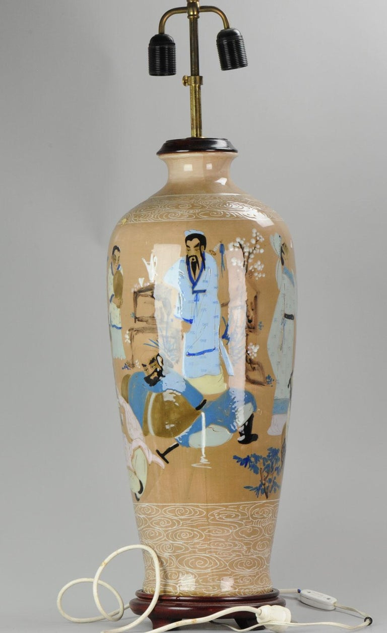 """A very nicely decorated vase, second half 20th century       Condition: Overall condition; perfect. Size (approximate): Vase 62. Total 105 centimeter // inch 24.4 x 41.3"""" Period 20th century PRoC (1949-now)."""