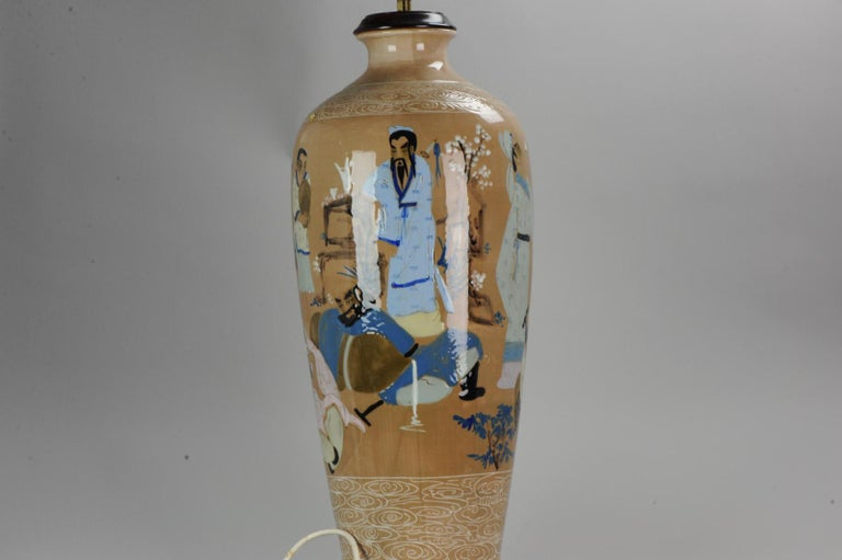 20th Century Chinese, Porcelain Vases, PRoC Lamp-Immortal Slip Decoration, China For Sale 1