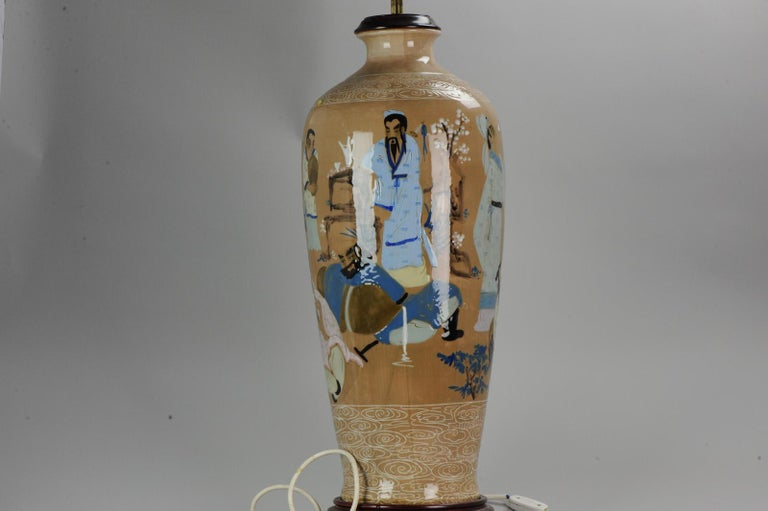 20th Century Chinese, Porcelain Vases, PRoC Lamp-Immortal Slip Decoration, China For Sale 2
