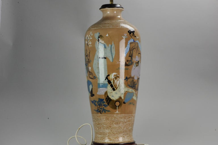 20th Century Chinese, Porcelain Vases, PRoC Lamp-Immortal Slip Decoration, China For Sale 3