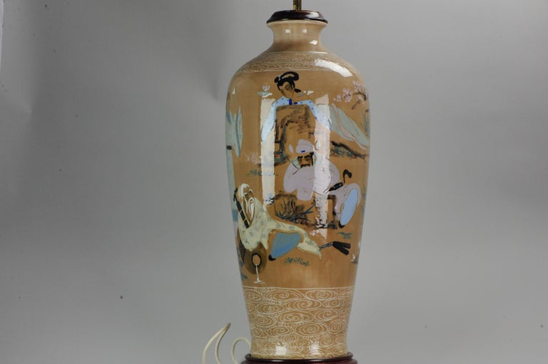 20th Century Chinese, Porcelain Vases, PRoC Lamp-Immortal Slip Decoration, China For Sale 4