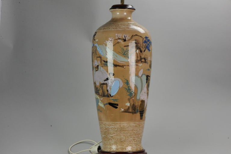 20th Century Chinese, Porcelain Vases, PRoC Lamp-Immortal Slip Decoration, China For Sale 5