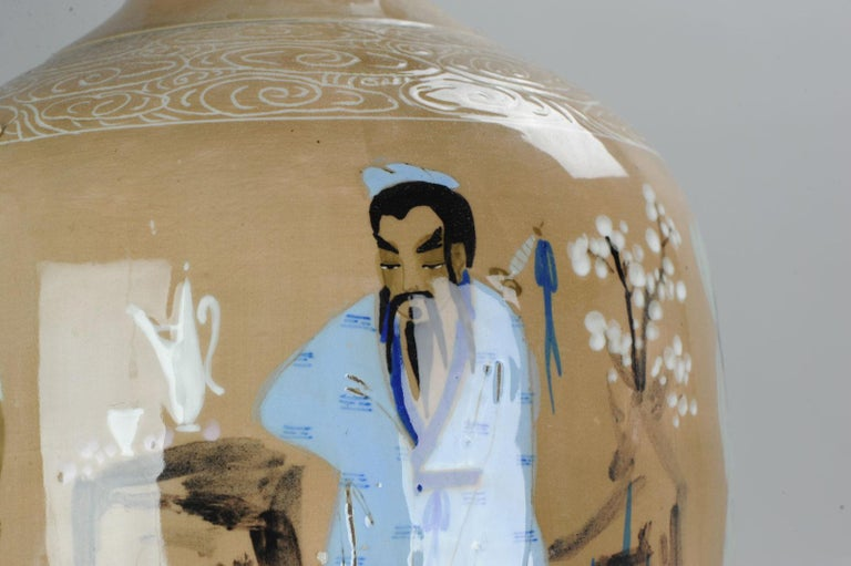 20th Century Chinese, Porcelain Vases, PRoC Lamp-Immortal Slip Decoration, China For Sale 6