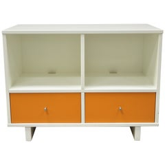Contemporary Modern White Orange Credenza Stereo TV Television Stand