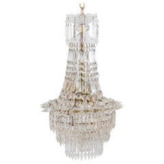 20th Century Crystal and Brass Basket Chandelier