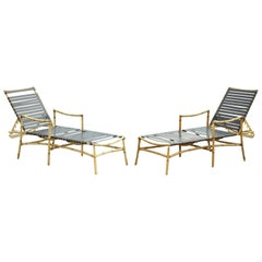 Faux Bamboo Chinese Chippendale Aluminum Vinyl Strap Patio Lounge Chairs