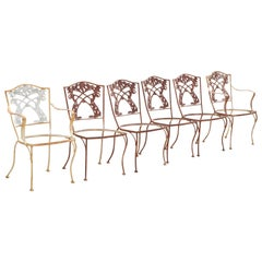 French Art Nouveau Vine Back Iron Outdoor Garden Dining Chairs, Set of 6