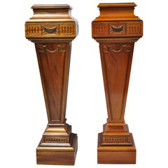 20th Century Empire Neoclassical Mahogany Wood Pedestal Plant Stands, a Pair
