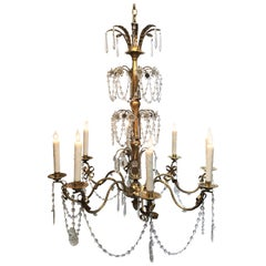 20th Century French Grand Tole and Crystal Chandelier