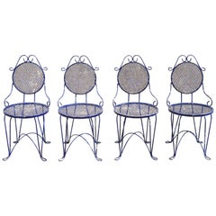 French Victorian Blue Wrought Iron Garden Bistro Dining Chairs, Set of 4