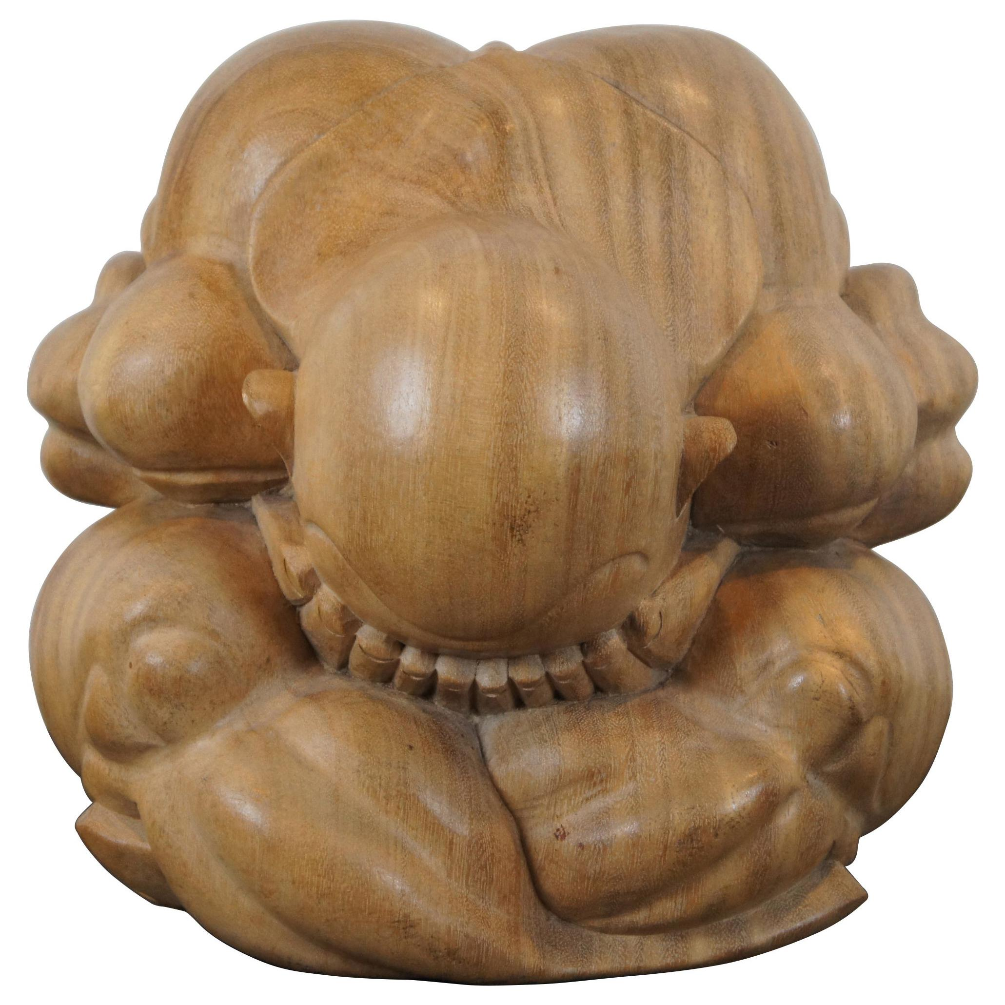 20th C Hand Carved Teak Weeping Buddha Figure Sculpture Crying Monk Yogi
