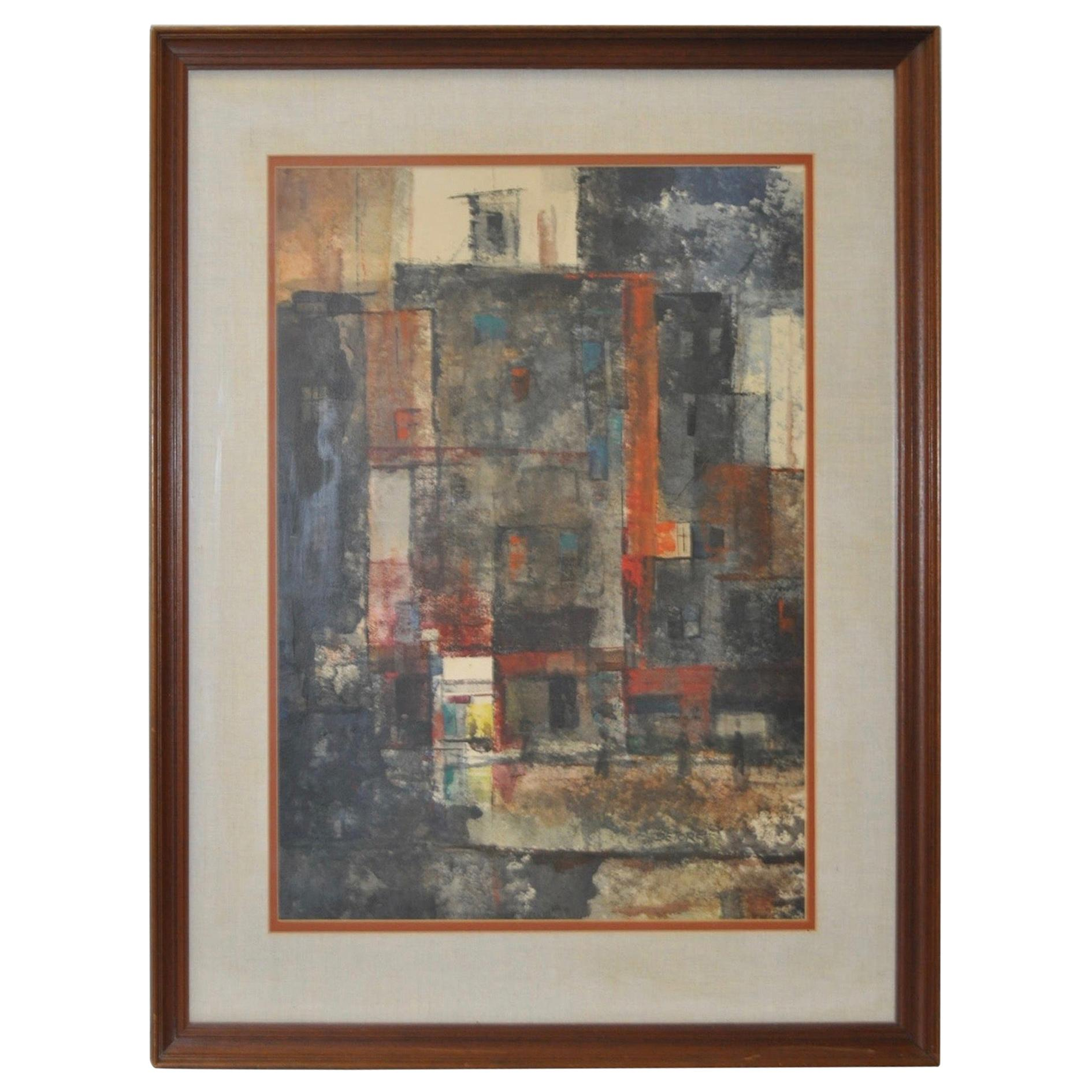 "20th Century John De Tore Vintage ""Abstract Cityscape"" Original Watercolor"
