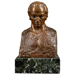 20th Century, Julio Antonio, Bronze Bust of a Man, Signed on the Back