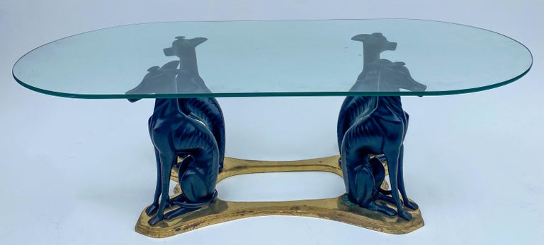 20th Century Neoclassical Style Whippet and Brass Coffee Table by Maitland-Smith In Good Condition For Sale In Kennesaw, GA