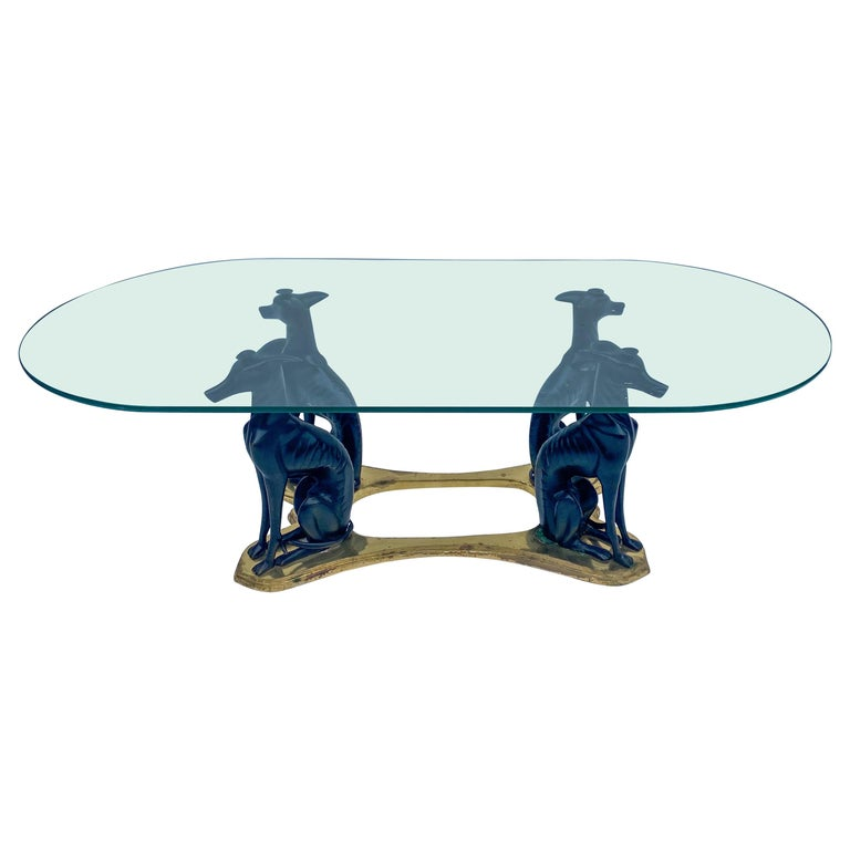 20th Century Neoclassical Style Whippet and Brass Coffee Table by Maitland-Smith For Sale