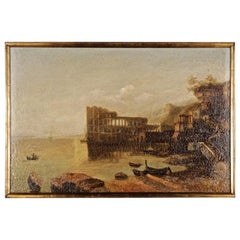 20th Century Oil Painting Palace of Queen of Naples, Venetian Coastal Landscape