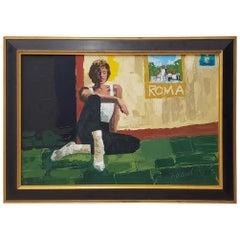 "20th Century Roland Roy 'Hawaii / California' ""Roma"" Original Oil on Canvas"