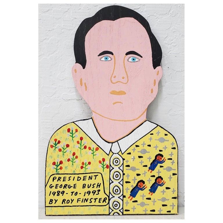"""20th Century Roy Finster """"President George Bush"""" Outsider Folk Art For Sale"""