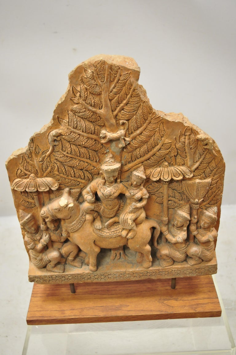 Thai Temple Buddhist Hand Carved Terracotta Figural Sculpture Statue For Sale 6