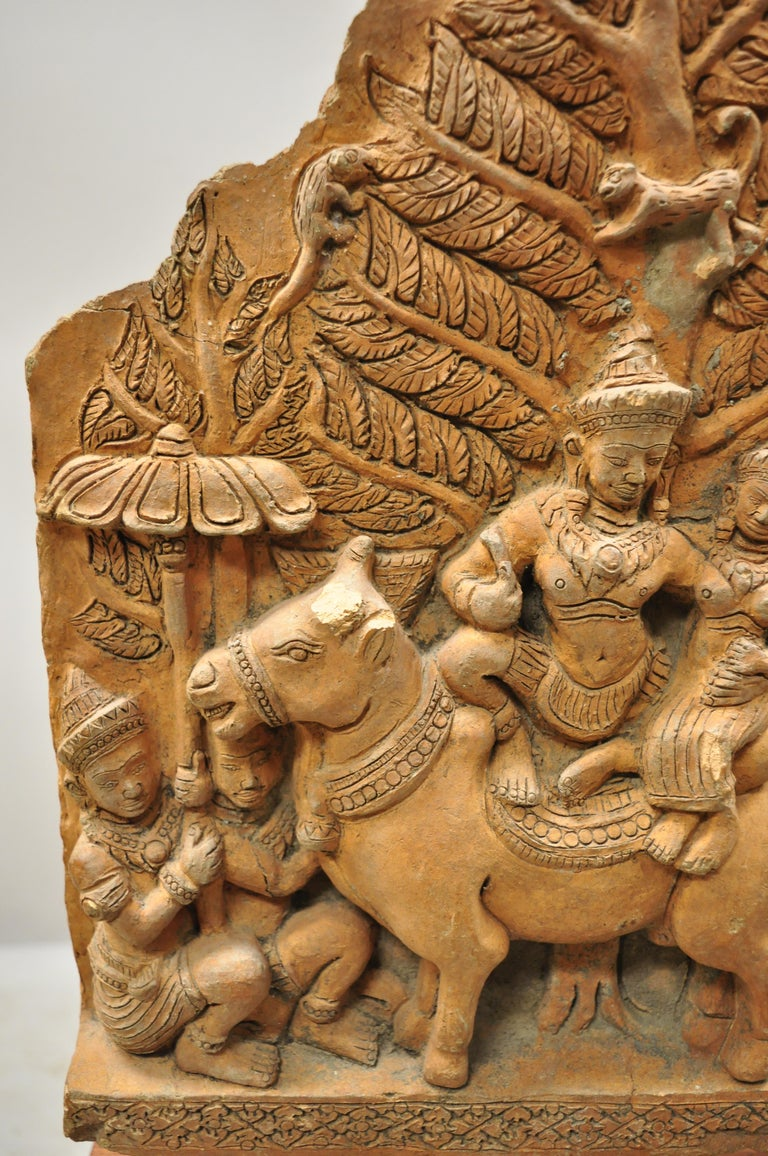 20th Century Thai Temple Buddhist Hand Carved Terracotta Figural Sculpture Statue For Sale