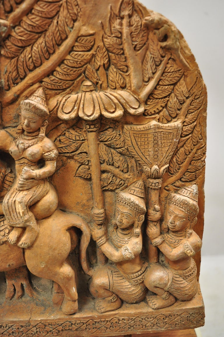 Thai Temple Buddhist Hand Carved Terracotta Figural Sculpture Statue For Sale 1