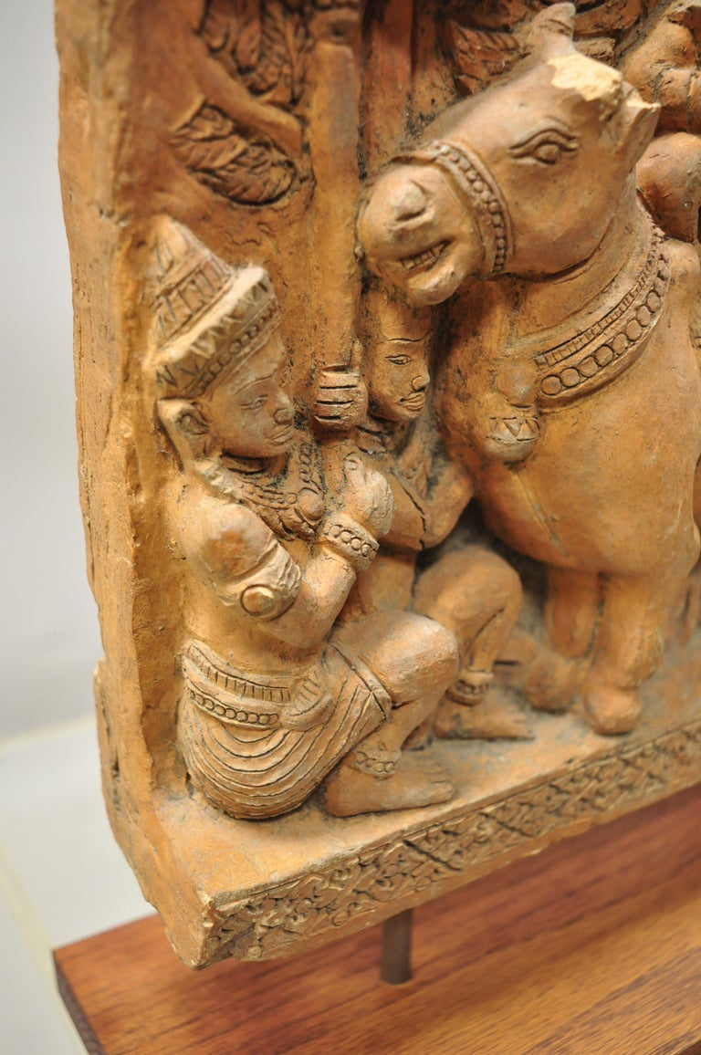 Thai Temple Buddhist Hand Carved Terracotta Figural Sculpture Statue For Sale 3