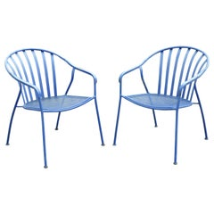 Woodard Valencia Barrel Back Stacking Iron Outdoor Patio Chairs, a Pair