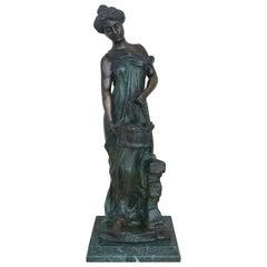 20th Century Cast Bronze Statue of a Nymph Signed by Ferdinando de Luca, Italy