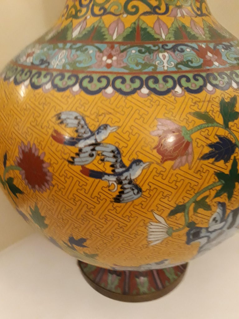 Chinese 20th cent Cloisonne Impressive Copper Wire Vase and Hard Stones For Sale