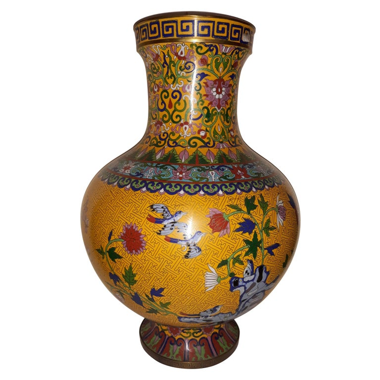 20th cent Cloisonne Impressive Copper Wire Vase and Hard Stones For Sale