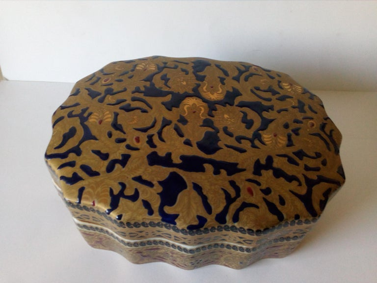 Chinese 20th Century Copy of Antique Ming Porcelain, Gold Decoration, Relized 1920 For Sale