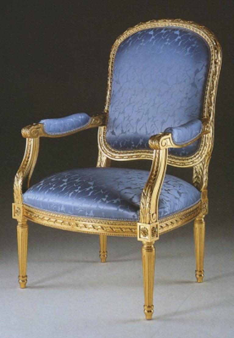 Hand-Carved 20th Century Louis XVI Armchair