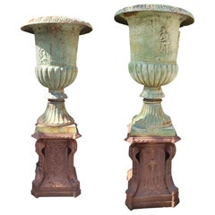 20th Centurty Pair of Cast Iron Vases with Bases, Garden Furniture