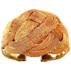 20th Century 10K Gold Filled Woven Metal Mesh Cuff Bracelet