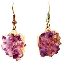 20th Century 12K Gold & Amethyst Geode Pair Of Earrings