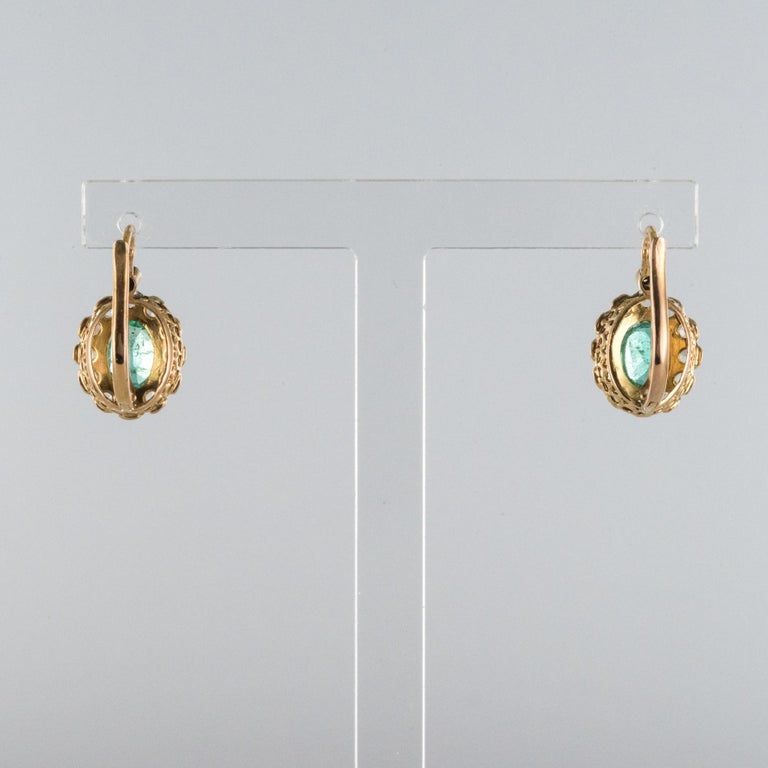 20th Century 1.52 Carat Emerald Diamond Rose Gold Drop Earrings For Sale 4