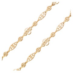 20th Century 18 Karat Rose Gold Filigree Shuttle Chain Necklace