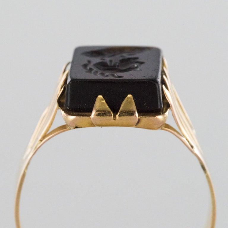 20th Century 18 Karat Rose Gold Sardoine Unisex Signet Ring For Sale 5