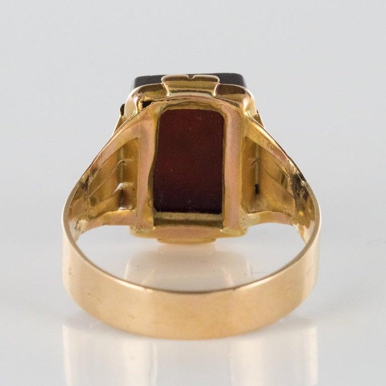 20th Century 18 Karat Rose Gold Sardoine Unisex Signet Ring For Sale 6