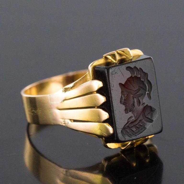 20th Century 18 Karat Rose Gold Sardoine Unisex Signet Ring For Sale 7