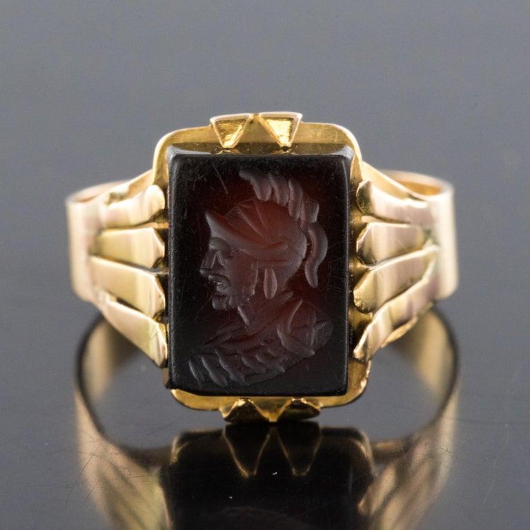 20th Century 18 Karat Rose Gold Sardoine Unisex Signet Ring For Sale 8