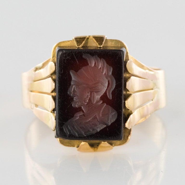 20th Century 18 Karat Rose Gold Sardoine Unisex Signet Ring For Sale 9