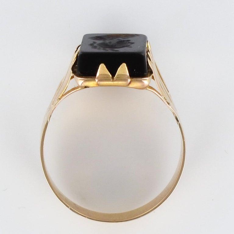 20th Century 18 Karat Rose Gold Sardoine Unisex Signet Ring For Sale 10