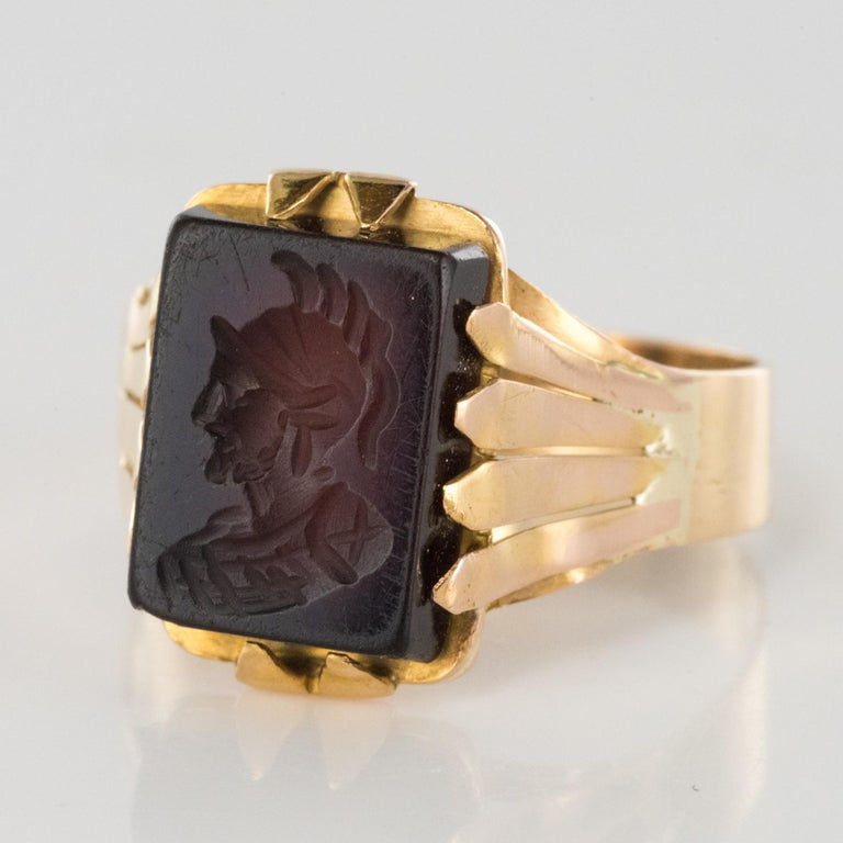 Napoleon III 20th Century 18 Karat Rose Gold Sardoine Unisex Signet Ring For Sale