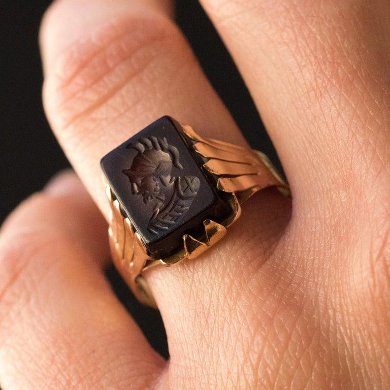 20th Century 18 Karat Rose Gold Sardoine Unisex Signet Ring In Good Condition For Sale In Poitiers, FR